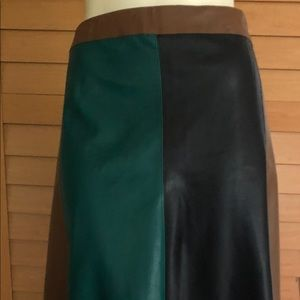 Black Green & Brown Faux Leather Skirt